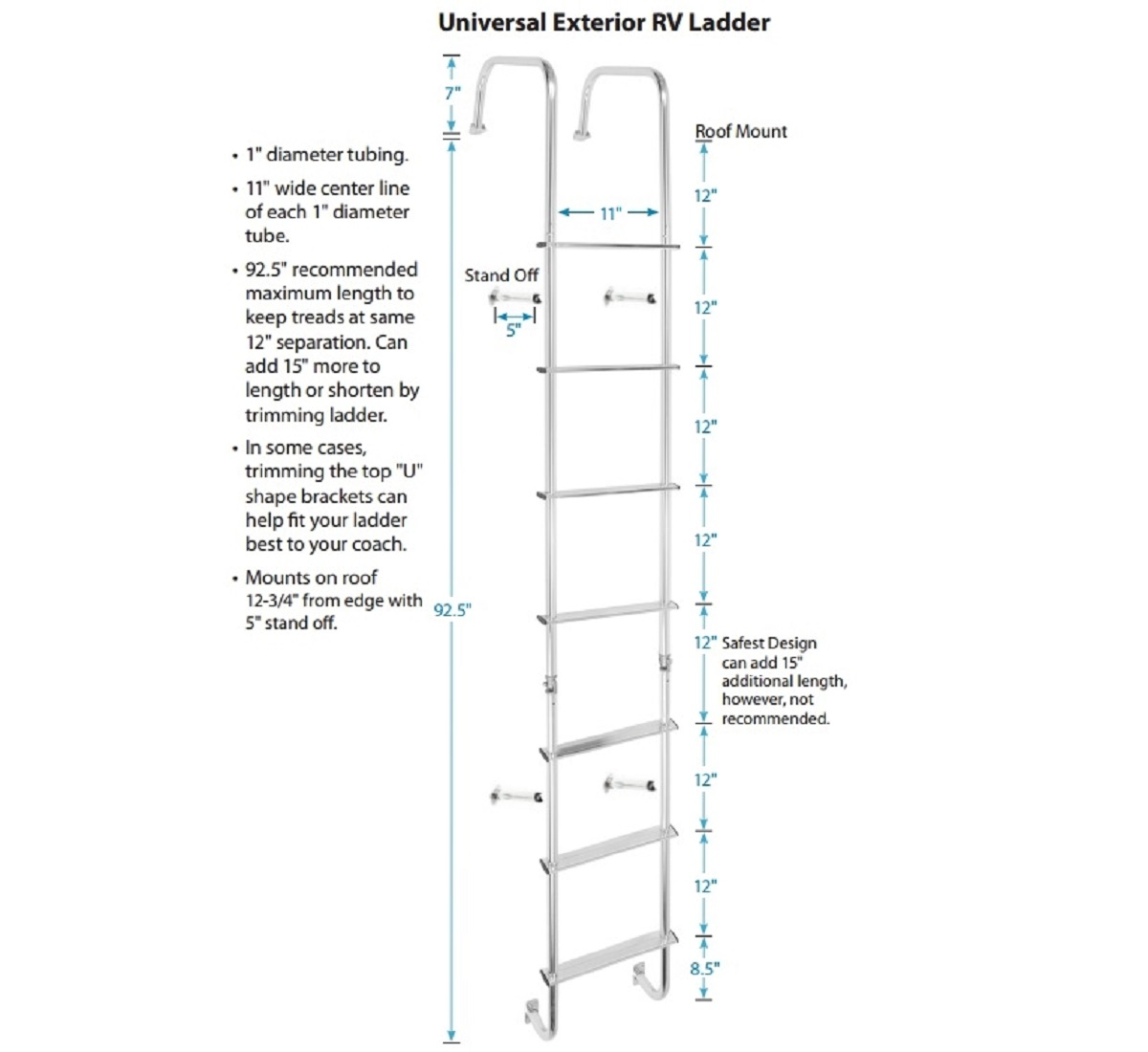 Universal Exterior Rv Ladder Stromberg Carlson Products Inc
